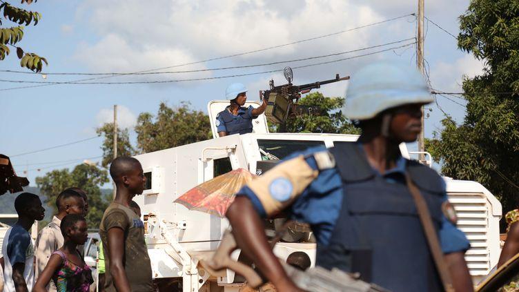 Des Casques Bleus de la Minusca, à Bangui (Centrafrique), en octobre 2015. (HERVE  SEREFIO / CITIZENSIDE.COM / AFP)