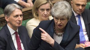 Theresa May s'exprime devant la Chambre des communes, à Londres, le 3 avril 2019. (MARK DUFFY / AFP)