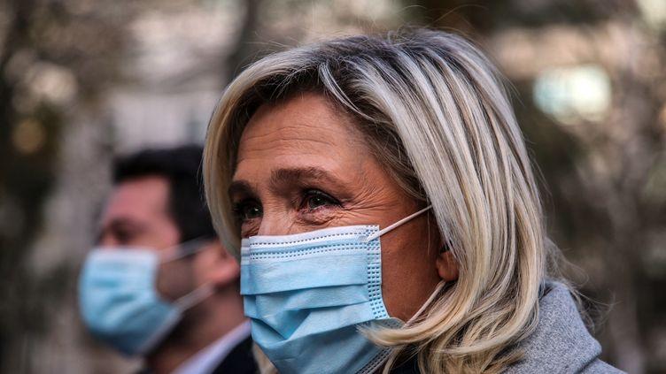 La présidente du Rassemblement national, en janvier 2021. (CARLOS COSTA / AFP)