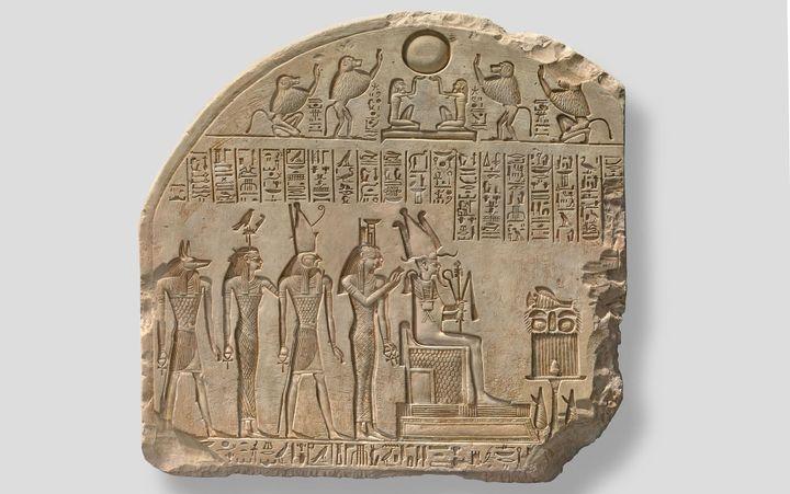 Fragment de stèle à Osiris et aux divinités associées.Probablement règne de Séthi Ier (vers 1294-1279 avant J.-C.) (Aix-en-Provence, Musée Granet © 2019 Musée Granet / Hervé Lewandowski)