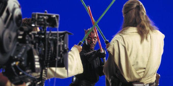 """Sur le tournage de """"Star Wars Episode 1 : La Menace fantôme"""" de George Lucas  (Twentieth Century Fox France)"""