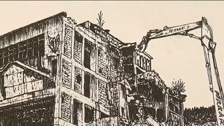 L'artiste Marion Chombart de Lauwe dessine les périodes de transformation, elle a notamment représentéla destruction de l'usine Rhodiaceta (Besançon, Doubs). Pas dans un esprit nostalgique, mais comme témoignage de brefs instants. (FRANCE 3)