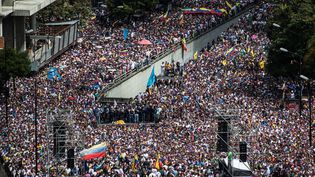 Un grand nombre de Vénézuéliens manifestent contre le régime de Nicolas Maduro, le 23 janvier 2019 à Caracas (Venezuela). (RODOLFO CHURION / DPA / AFP)