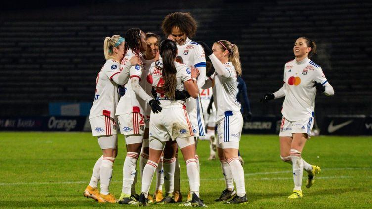 Les joueuses de l'Olympique Lyonnais le 22 janvier 2021.  (ANTOINE MASSINON / A2M SPORT CONSULTING)