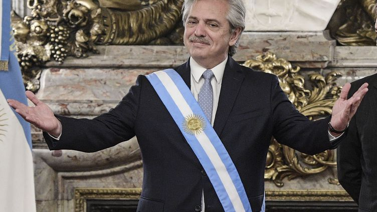 Le président de l'Argentine Alberto Fernandez lors de sa prise de fonction le 10 décembre 2019. (JUAN MABROMATA / AFP)