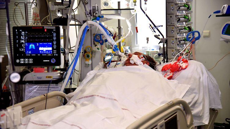 Un patient dans le service réanimation Covid-19 de l'Hôpital Nord de Marseille, le 14 octobre 2020. (GEORGES ROBERT / PHOTOPQR /LA PROVENCE/ MAXPPP)