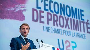 Emmanuel Macron lors de son discours du 16 septembre 2021 à laMaison de la Mutualité à Paris. (CHRISTOPHE PETIT TESSON / POOL)