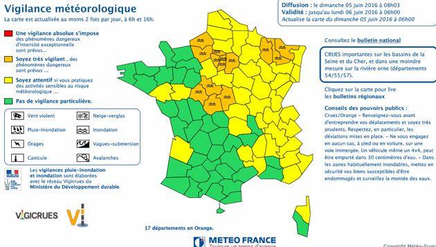 (Carte météo à 8h © capture d'écran Météo France)