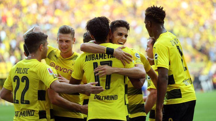 Les joueurs du Borussia Dortmund. (INA FASSBENDER / AFP)
