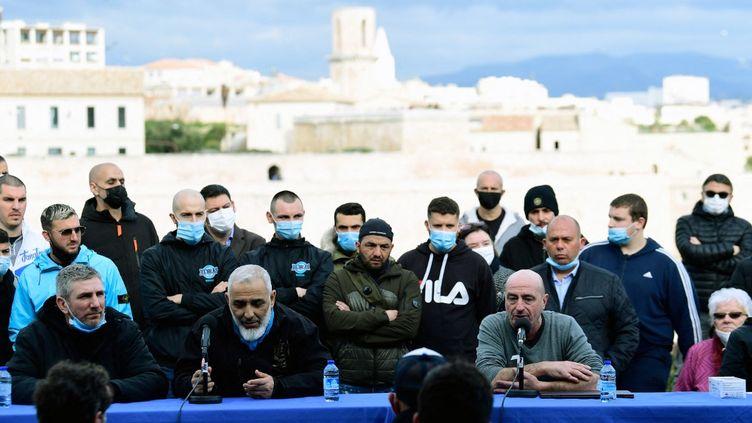 Les associations de supporters de l'OM ont réclamé le départ du président du club, Jacques-Henri Eyraud, dans une conférence de presse.  (NICOLAS TUCAT / AFP)