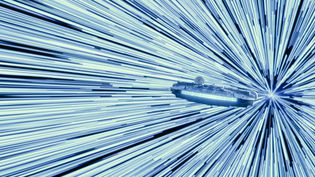 """""""Star Wars: L'Ascension de Skywalker"""" : le vaisseau Millenium Falcon entre en vitesse lumiique. (LUCASFILM LTD. / TR0150_COMP_015571.1096.TIFF)"""