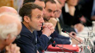 Emmanuel Macron lors d'une réunion à Epernay (Marne), le 14 novembre 2019. (FRANCOIS NASCIMBENI / AFP)