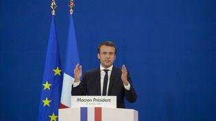 Emmanuel Macron lors de son discours au Parc des Expositions de Paris, dimanche 23 avril 2017. (CITIZENSIDE/STÉPHANE ROUPPERT / CITIZENSIDE)