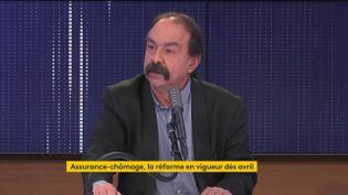 Philippe Martinez, secrétaire général de la CGT, était l'invité de franceinfo lundi 18 janvier. (FRANCEINFO / RADIO FRANCE)