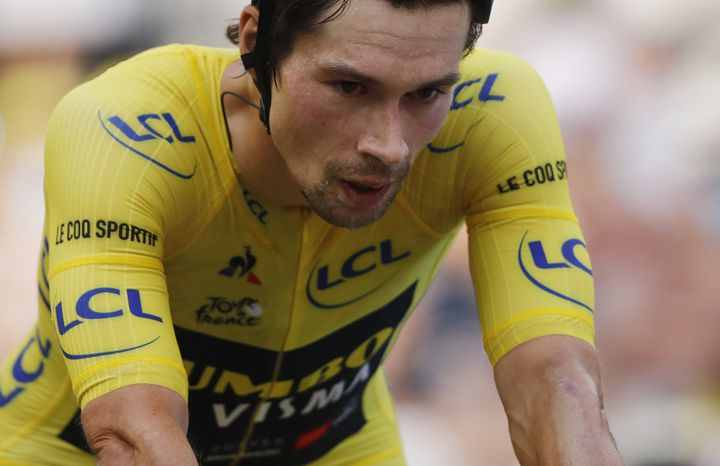 Primoz Roglic lors de la 20e étape du dernier Tour de France. (CHRISTOPHE ENA / POOL)