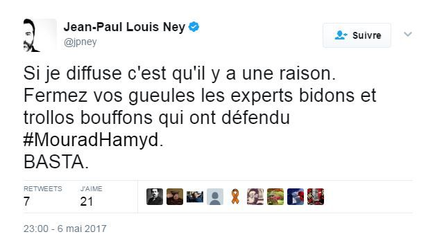 Capture d'écran d'un tweet daté du 6 mai 2017. (JEAN-PAUL NEY / TWITTER)