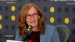 La ministre de la Justice Nicole Belloubet, le 11 avril 2018, sur franceinfo. (RADIO FRANCE / FRANCEINFO)
