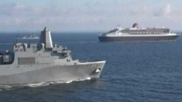 Ce samedi 24 juin en fin de journée, le Queen Mary 2 fera son retour à Saint-Nazaire. Anne-Charline Lambard se trouve sur le paquebot pour France 3. (France 3)