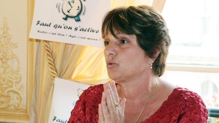 Marie Humbert, la mère du jeune tétraplégique Vincent Humbert, lors d'une conférence de presse le18 juin 2008. (JACQUES DEMARTHON / AFP)