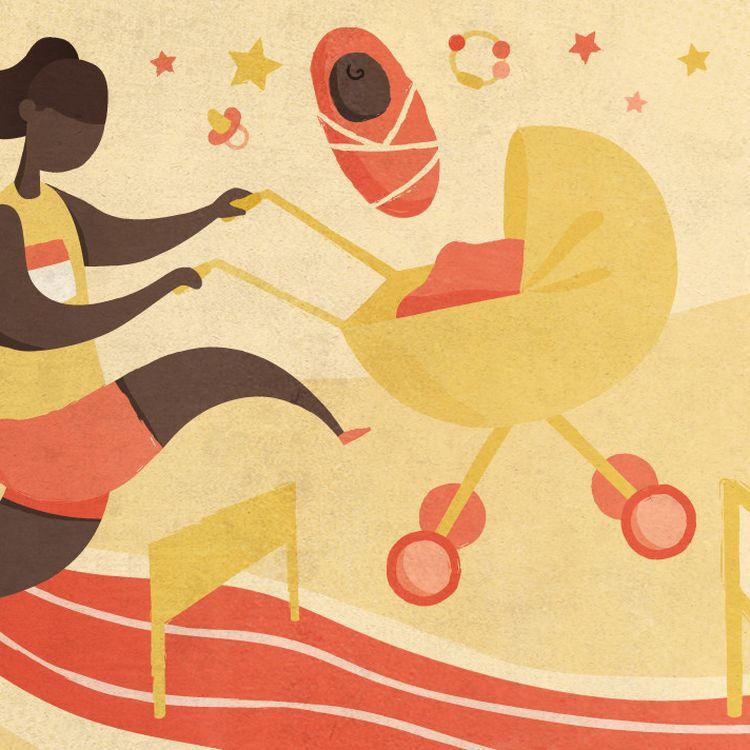 Des athlètes racontent à franceinfo la difficulté de mener de front une carrière de hautniveau et la maternité. (ELLEN LOZON / FRANCEINFO)