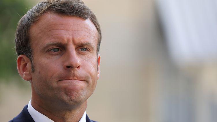 Emmanuel Macron, le 22 juillet 2019, à l'Elysée. (LUDOVIC MARIN / AFP)