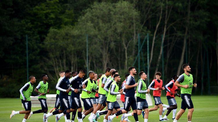 L'equipe de France de football à l'entrainement à Clairefontaine (Yvelines), le 4 juin 2018. (FRANCK FIFE / AFP)