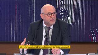 Laurent Pietraszewski, secrétaire d'Etat chargé des Retraites et de la Santé au travail, sur franceinfo le 24 janvier 2021. (FRANCEINFO / RADIOFRANCE)