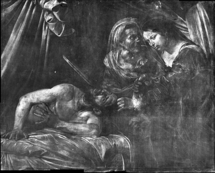 """Radiographie du tableau """"Judith et Holopherne"""" redécouvert en 2014 (Cabinet Turquin)"""