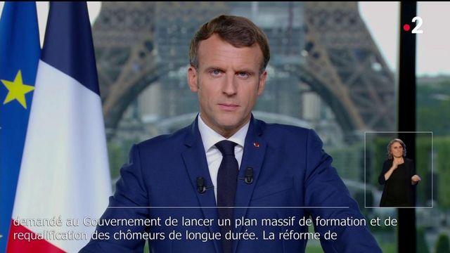 """Emmanuel Macron : """"En France, on doit toujours bien mieux gagner sa vie en travaillant qu'en restant chez soi, ce qui n'est actuellement pas toujours le cas"""""""