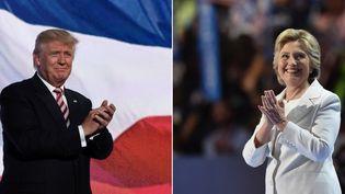 Donald Trump et Hillary Clinton sur la scène des conventions républicaine et démocrate, les 21 et 28 juillet 2016 à Cleveland et Philadelphie (Etats-Unis). (AFP / FRANCETV INFO)