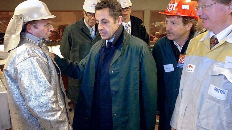 Nicolas Sarkozy en visite sur le site d'ArcelorMittal à Gandrange (Moselle), le 4 février 2008. (SB/fa)