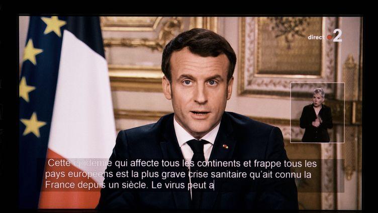Emmanuel Macron lors de son allocution télévisée sur le coronavirus, à l'Elysée, le 12 mars 2020. (BENOIT DURAND / HANS LUCAS / AFP)