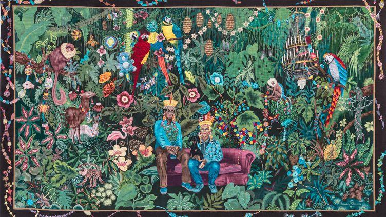 La famille dans la joyeuse verdure Chiochio Gionnone. 2020 (Cité internationale de la tapisserie)
