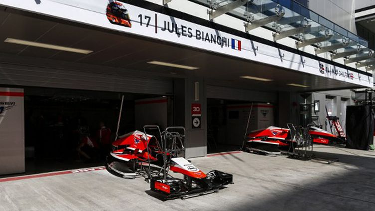 Le stand Marussia à Sotchi lors du GP de Russie