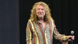 Robert Plant sur scène au festival de Glastonbury le 30 juin 2014.  (Paul Treadway / Photoshot / MaxPPP)