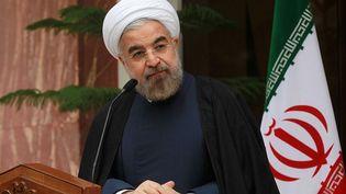 Le président iranien, Hassan Rouhani, donne une conférence de presse après la conclusion d'un accord avec la communauté internationale sur le programme iranien du pays, le 24 novembre 2013 à Téhéran (Iran). (PRESIDENCE IRANIENNE / AFP)