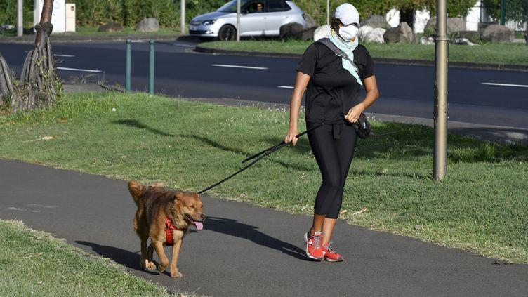 Une habitante promène son chien à Saint-Denis (La Réunion), le 19 mars 2020. (MAXPPP)