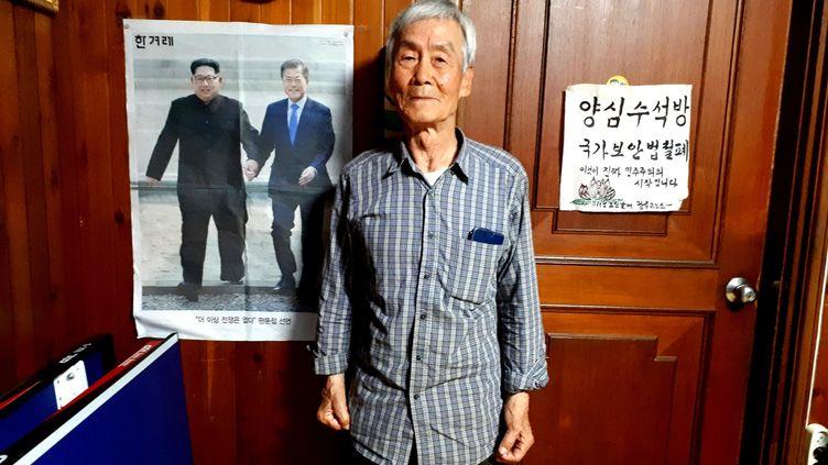 """Park Hee Sung a passé 27 ans dans les prisons sud-coréennes. Aujourd'hui, il est """"bloqué"""" au Sud et espère regagner un jour le Nord. (BENJAMIN ILLY / FRANCEINFO)"""