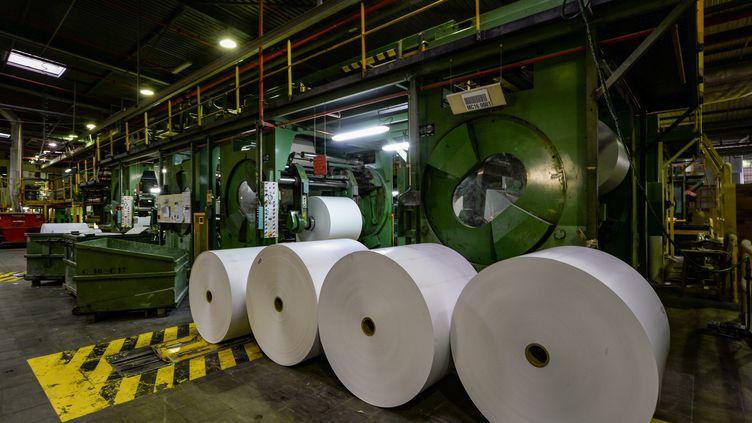 Des rouleaux de papier dans l'usine àBesse-sur-Braye (Sarthe) le 27 mars 2019. (JEAN-FRANCOIS MONIER / AFP)