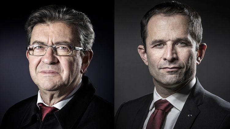 Jean-Luc Mélenchon (à gauche) et Benoît Hamon(à droite)posent lors d'une séance photo à Paris, respectivement le 24 janvier 2017 et le 15 décembre 2016. (AFP / FRANCEINFO)