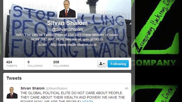 Le compte Twitter @SilvanShalom, détenu par le vice-Premier ministre israélien Silvan Shalom, a été piraté par des hackers, le 21 novembre 2012. (TWITTER.COM / FTVI)