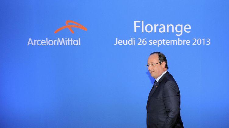 François Hollande en visite sur le site ArcelorMittal de Florange (Moselle), le 26 septembre 2013. ( REUTERS)