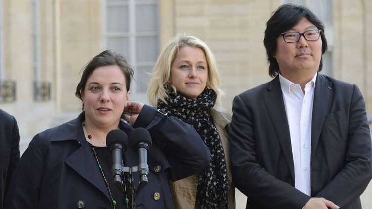 (Emmanuelle Cosse, Barbara Pompili et Jean-Vincent Placé en 2014 © Witt/SIPA)