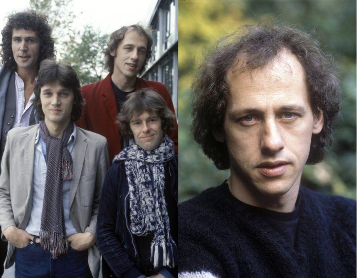 A gauche, la formation des débuts, de 1977 à 1980, de gauche à droite, au premier plan : David Knopfler (guitare) et Pick Withers (Batterie), derrière : John Illsey (basse) et Mark Knopfler (chant et guitare). A droite, Mark Knopfler, véritable leader du groupe : auteur, compositeur, chanteur, guitariste, arrangeur et producteur  (SUNSHINE/MAXPPP)