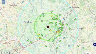 Capture d'écran de la carte du séisme produite par le bureau central sismologique français. (BUREAU CENTRAL SISMOLOGIQUE FRANCAIS)