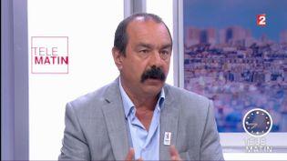 Philippe Martinez, secrétaire général de la CGT, sur France 2, le 18 juillet 2017. (FRANCE 2)
