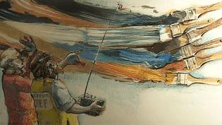 """""""Arman et César aux manettes"""", détail du tableau """"Les champions de la radio-commande"""" réalisé par Jacques Séchaud en 1990 et exposé à l'espace Ferrero  (France 3 / Culturebox / capture d'écran)"""