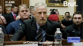 Le 11 juin, au Congrès américain, l'ancien présentateur du Daily Show Jon Stewart est venu apporter son soutien aux secouristes du 11-Septembre qui ont payé le prix fort de leur intervention. (BRUT)