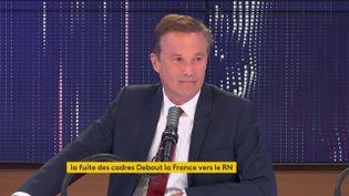 Nicolas Dupont-Aignan, député de l'Essonne, président de Debout la France, était l'invité de franceinfo le 18 mai 2021. (FRANCEINFO / RADIOFRANCE)