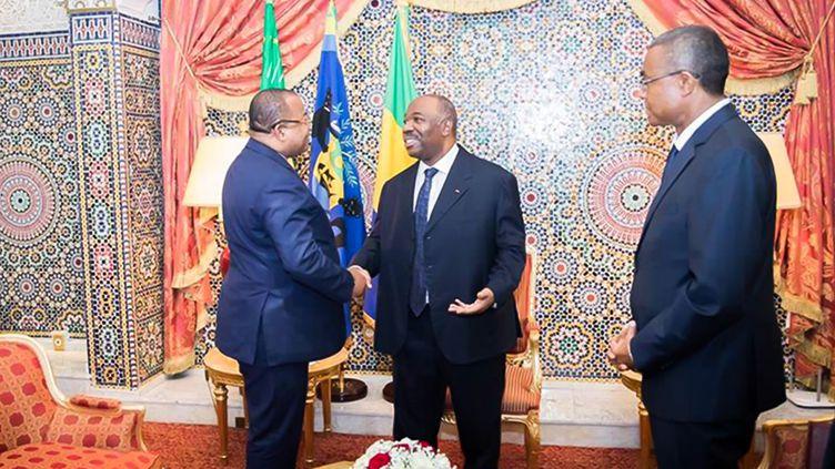 Le président du Gabon Ali Bongo avec son Premier ministre Julien Nkoghe Bekalé à Libreville, le25 février 2019. (AFP/ Présidence gabonaise)
